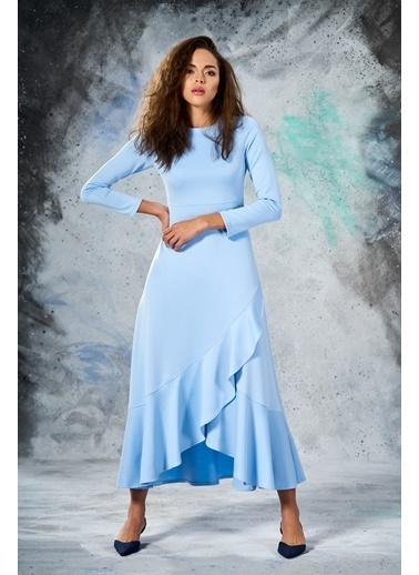 Eda Atalay Volanlı Elbise Mavi